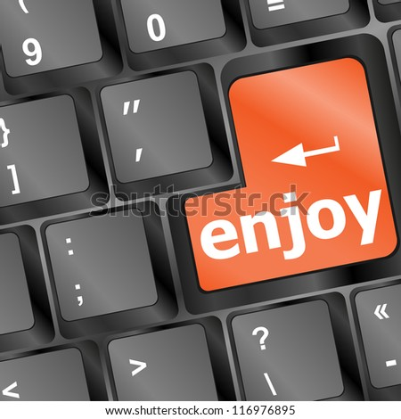 Keyboard of computer with selected button enjoy, raster - stock photo