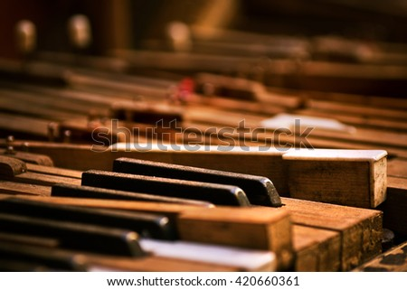 Keyboard of old broken piano (close-up view) - stock photo