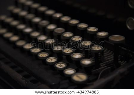 Keyboard of old typewriter - stock photo