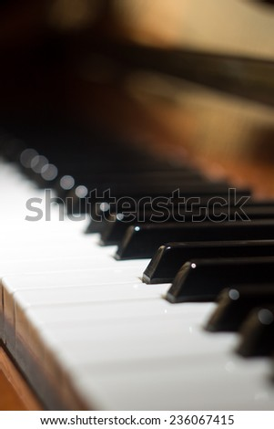 Keyboard of piano. Selective focus image. Music background - stock photo