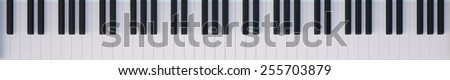 Keyboard Piano top view. 3d illustration high resolution - stock photo