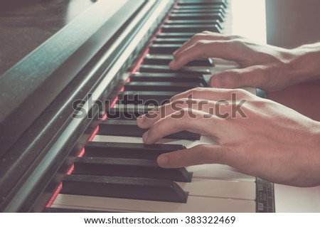 keyboard piano vintage filter effect. - stock photo