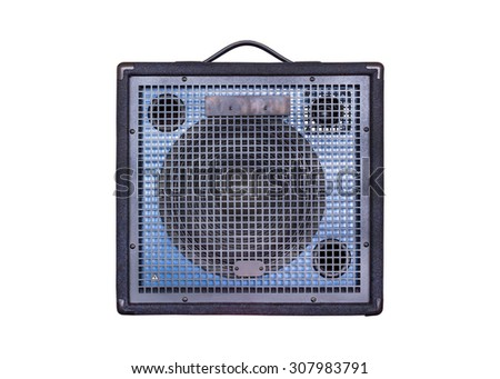 Keyboard Power Amplifier isolated on white background - stock photo