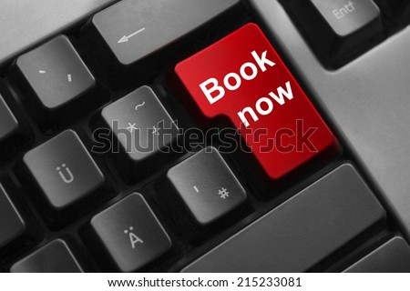 keyboard red button book now travel holiday - stock photo