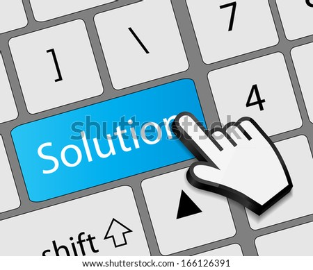 Keyboard solution button with mouse hand cursor  illustration