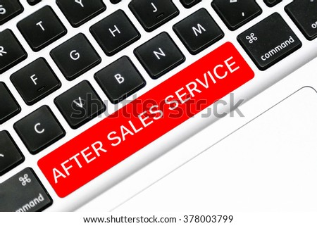 Keyboard space bar button written word after sales service
