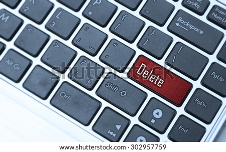 Keyboard with a word delete - stock photo