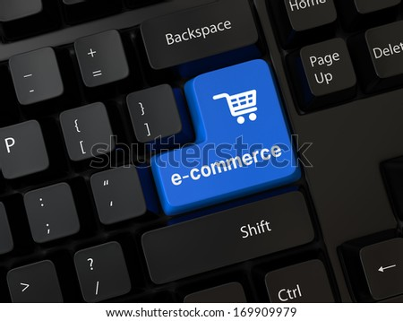 Keyboard with a word e-commerce - stock photo