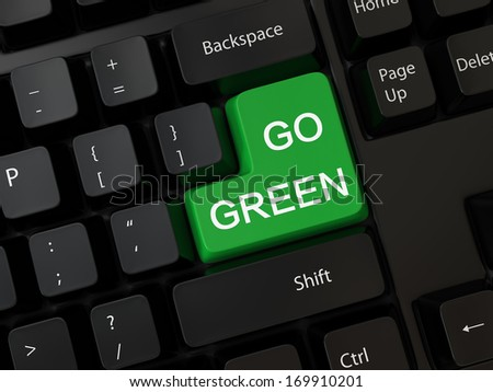 Keyboard with a word go green
