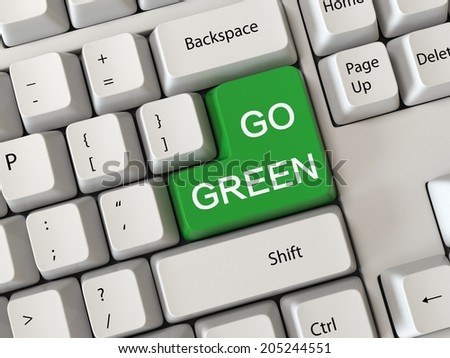 Keyboard with a word go green - stock photo