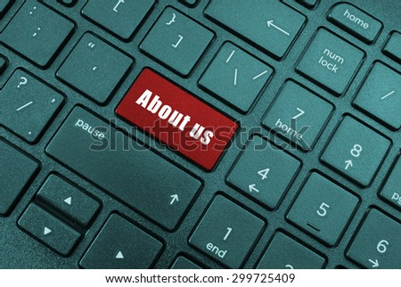 Keyboard with about us button - stock photo