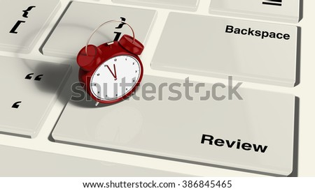 Keyboard with an alarm clock on the review enter button closeup 3d render - stock photo