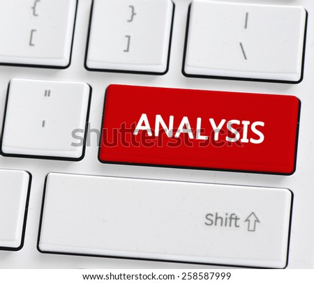Keyboard with analysis button. Computer keyboard with analysis button - stock photo