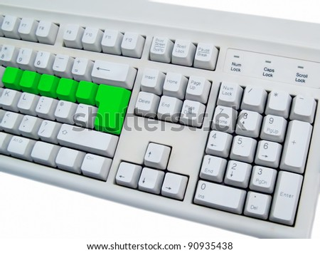 keyboard with blank green button - stock photo