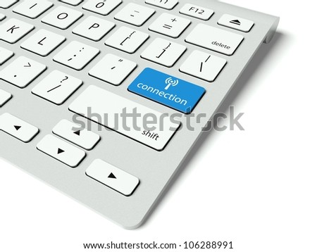 Keyboard with blue Connection button, internet concept