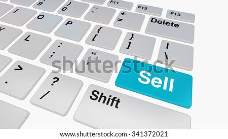 Keyboard with blue sell button, online shopping and auction concept