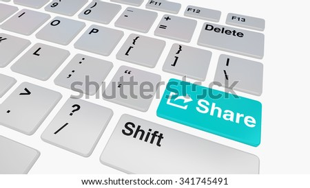 Keyboard with blue share key concept for file sharing and social media