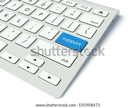 Keyboard with blue Support button, business concept