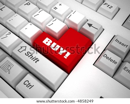 "Keyboard with ""buy"" button 3d"