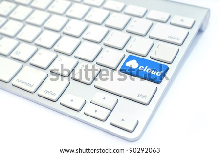 keyboard with  cloud computing button - stock photo