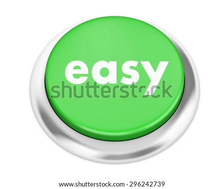 keyboard with easy button - stock photo