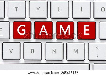 Keyboard with game button. Computer white keyboard with game button - stock photo
