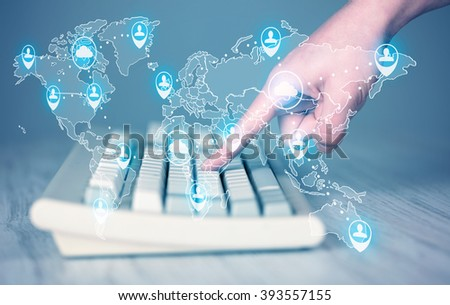 Keyboard with high tech user map icons and symbols - stock photo
