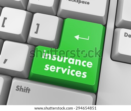 Keyboard with insurance services button, internet concept, raster - stock photo