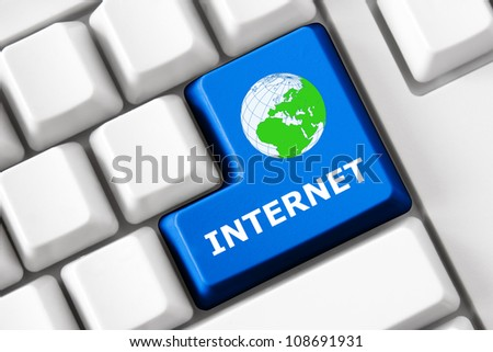 Keyboard with Internet text and word symbol - stock photo