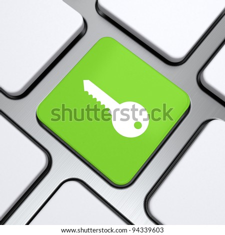 """keyboard with """"key"""" button 3d rendering. Security and protection. - stock photo"""