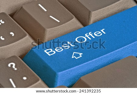 Keyboard with key for best offer - stock photo