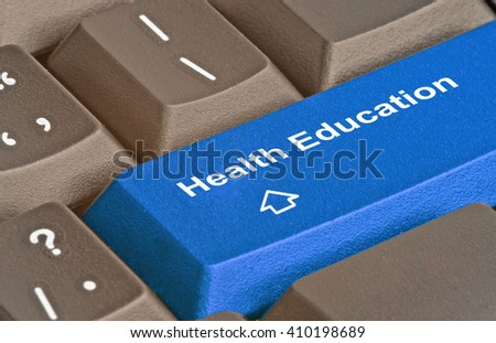 Keyboard with key for health education - stock photo