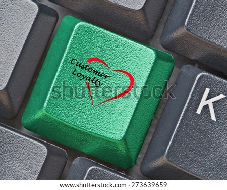 Keyboard with key for loyalty - stock photo
