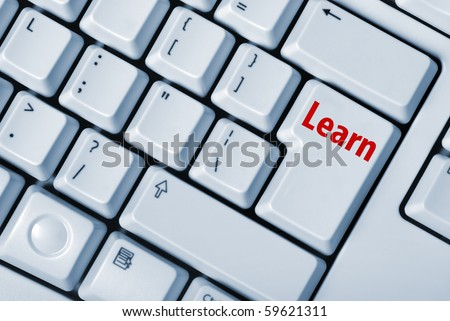 keyboard with key learn. The computer device for input of symbols - stock photo
