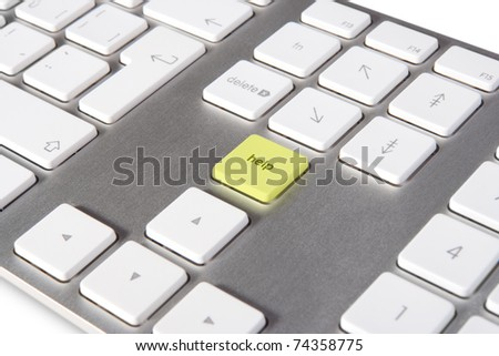 Keyboard with keypad help placed in blank space on standard keyboard - IT support concept - stock photo