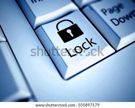 Keyboard with Lock button, internet concept - stock photo