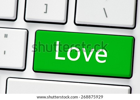 Keyboard with love button. Computer white keyboard with love button - stock photo