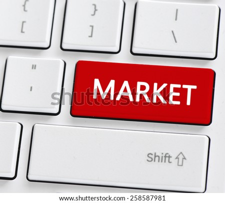 Keyboard with market button. Computer keyboard with market button - stock photo