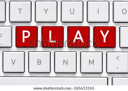 Keyboard with play button. Computer white keyboard with play button - stock photo