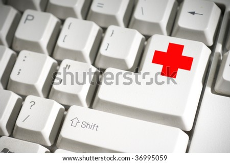keyboard with red cross