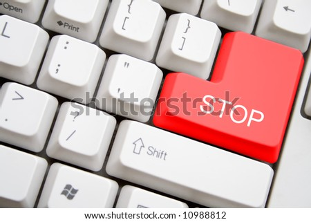 keyboard with red stop button