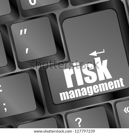 Keyboard with risk management button, internet concept, raster - stock photo