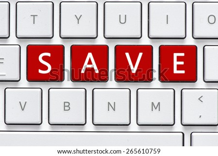 Keyboard with save button. Computer white keyboard with save button - stock photo