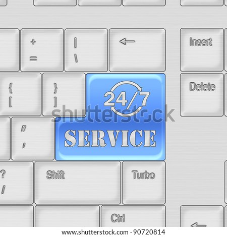 Keyboard with SERVICE 24/7  button concept - stock photo