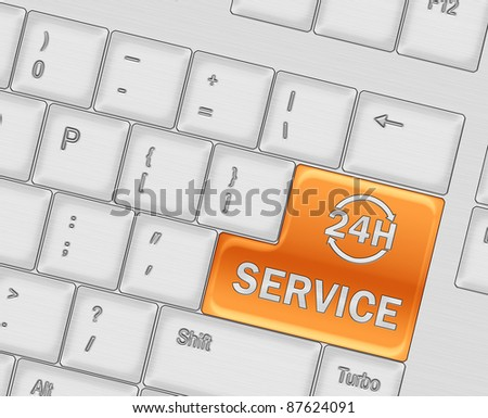 Keyboard with SERVICE 24 hours button concept - stock photo