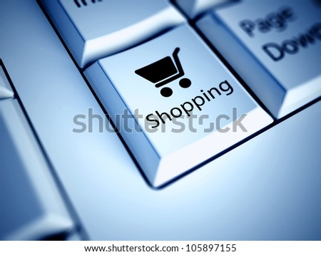 Keyboard with Shopping button, internet concept - stock photo