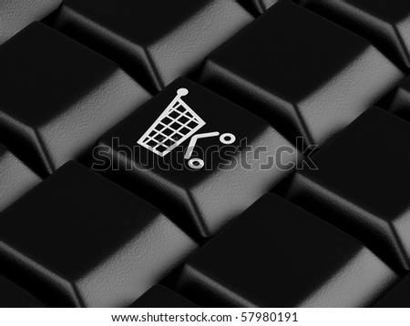 Keyboard with shopping cart on a button. High resolution image. - stock photo