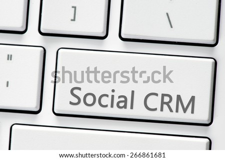 Keyboard with social CRM button. Computer white keyboard with social CRM button