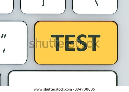 Keyboard with test button. Computer white keyboard with test button in the design of information related to computer technology - stock photo