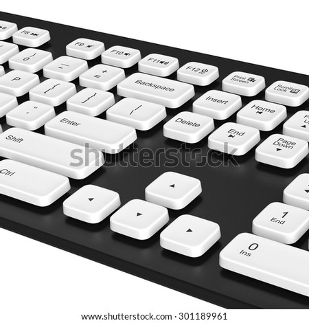 Keyboard with white buttons. White buttons with the arrow symbols. 3D graphic object on white background